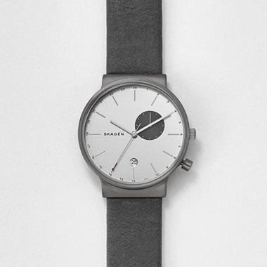 スカーゲン Ancher Titanium & Leather Dual-Time Watch SKW6319