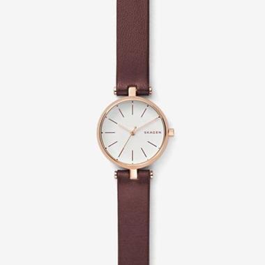 スカーゲン-Signatur Leather T-Bar Watch SKW2641-画像1