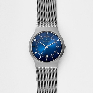スカーゲン Grenen Steel Mesh and Titanium Case Watch 233XLTTN